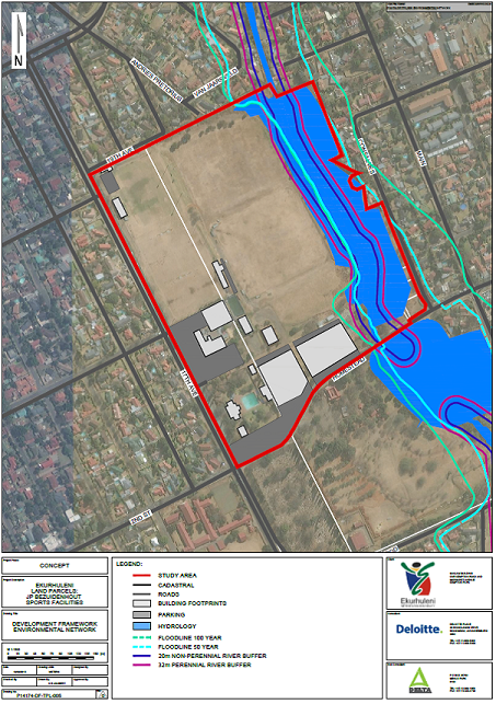 JP Bezuidenhout Park Horwood's Farm 50-year and 100-year flood lines