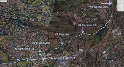 Map showing Upper Jukskei River monitoring sites