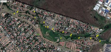 Map of Illiondale Wetland showing Edenvale RiverWatch photo monitoring sites as at June 2018