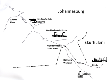 Map of the Modderfontein River catchment with main features and border between City of Johannesburg and City of Ekurhuleni