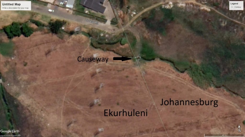Satellite image of Illiondale showing the temporary road and causeway across Kelvin Stream the contractor abandoned. October 2019